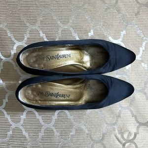 Yves saint Laurent shoes satin black vintange